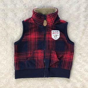 Carter's Fleece Plaid Vest Red Blue Size 3 Months